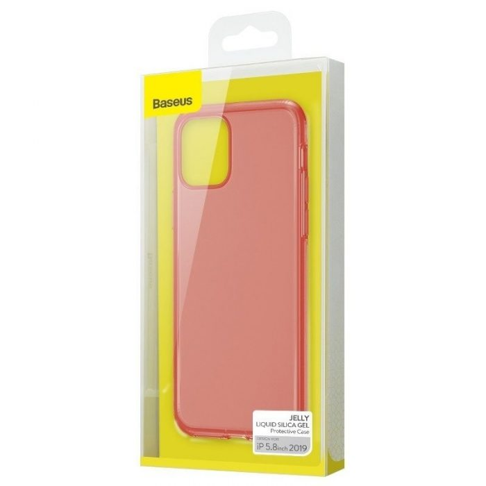 baseus jelly liquid silica gel protective kryt for iphone 11 pro 5.8inch transparent red - baseus 6953156211650 5
