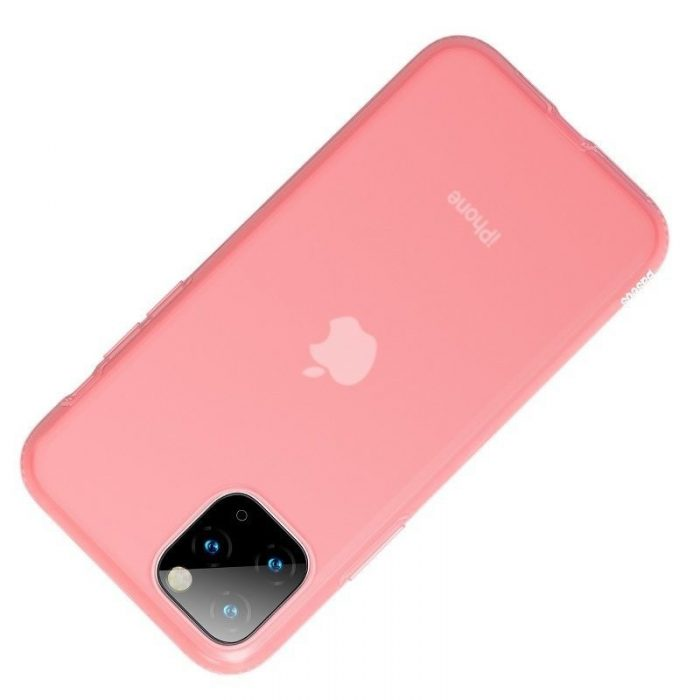 baseus jelly liquid silica gel protective case for iphone 11 pro 6.5inch transparent red - baseus 6953156211711 2