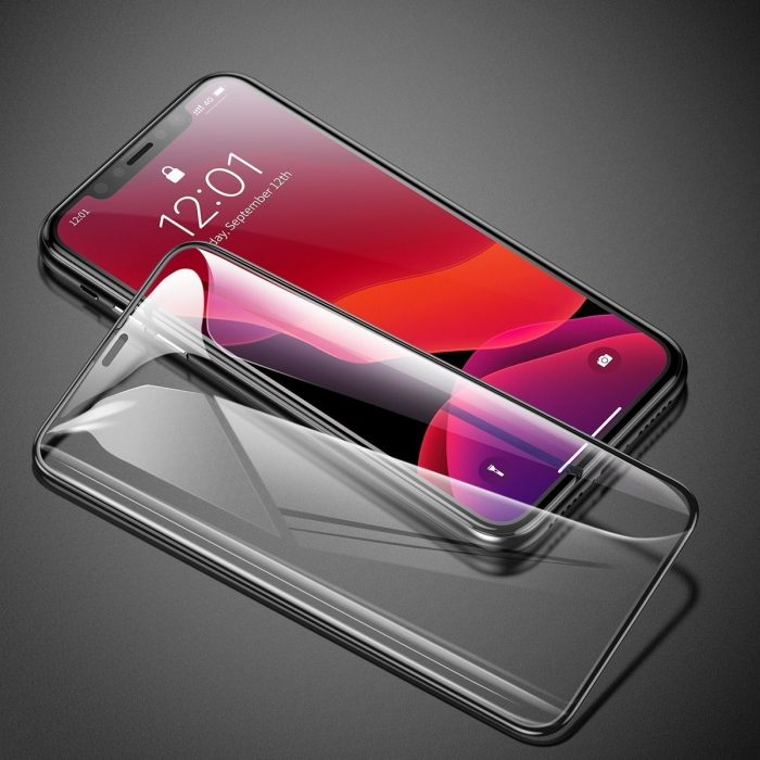baseus 0.3mm full-screen and full-glass tempered glass film(2pcspack+pasting artifact) for ipx/xs/11 pro 5.8inch(2019)black - baseus 6953156211759 2