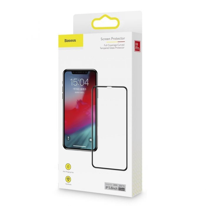 baseus 0.3mm full-screen and full-glass tempered glass film(2pcspack+pasting artifact) for ipx/xs/11 pro 5.8inch(2019)black - baseus 6953156211759 3