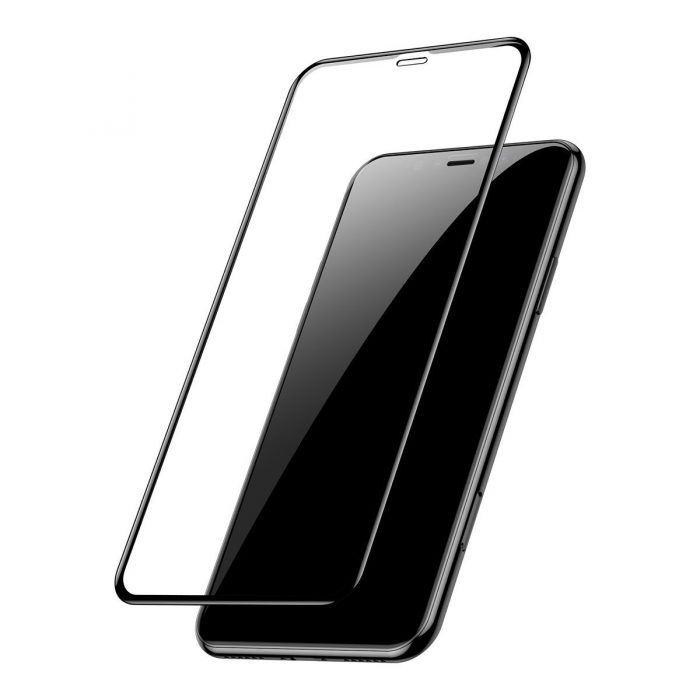 baseus 0.3mm full-screen and full-glass tempered glass film(2pcspack+pasting artifact) for ipx/xs/11 pro 5.8inch(2019)black - baseus 6953156211759 4