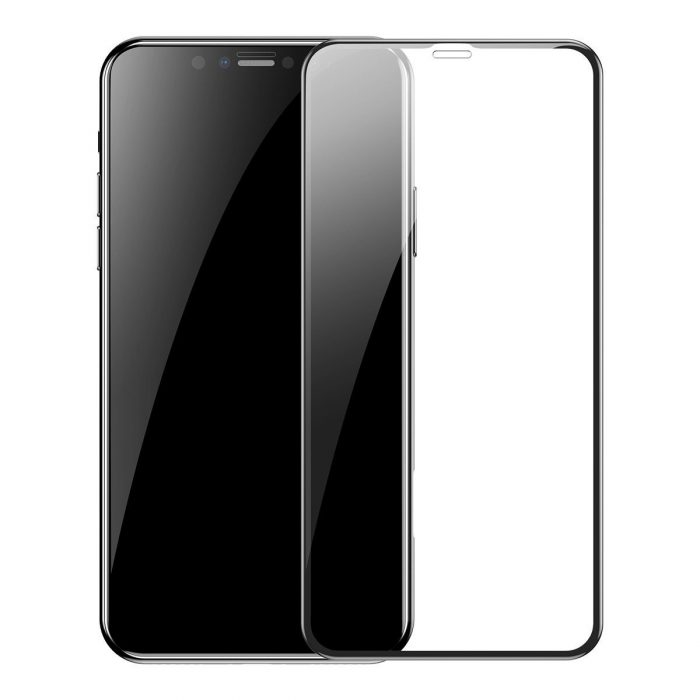 baseus 0.3mm full-screen and full-glass tempered glass film(2pcspack+pasting artifact) for ipx/xs/11 pro 5.8inch(2019)black - baseus 6953156211759