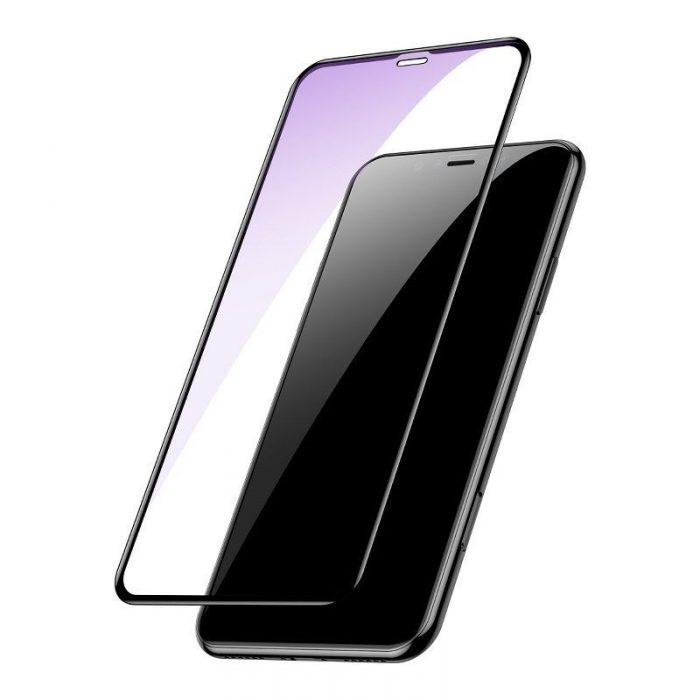 baseus 0.3mm full-screen and full-glass with anti-blue light tempered glass film(2pcspack+pasting artifact) for ip xs max/11 pro - baseus 6953156211803 1