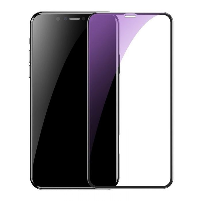 baseus 0.3mm full-screen and full-glass with anti-blue light tempered glass film(2pcspack+pasting artifact) for ip xs max/11 pro - baseus 6953156211803