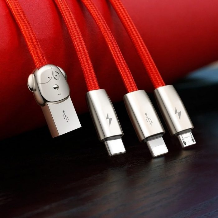USB Baseus Rapid Cable 3in1 Typ C / Lightning / Micro 3A 1,2m Red - BASEUS 6953156268074 7