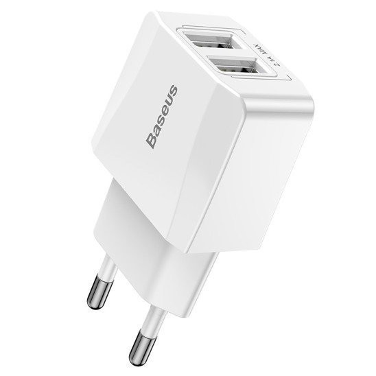 mini wall charger baseus 2x usb white - baseus 6953156268227 1