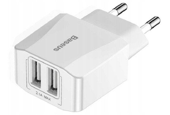 mini wall charger baseus 2x usb white - baseus 6953156268227 2