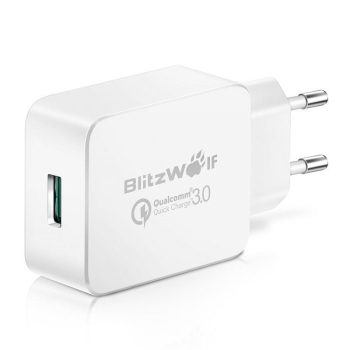 wall charger usb blitzwolf bw-s5 quick charge 3.0 18w white - blitzwolf 5907489600637