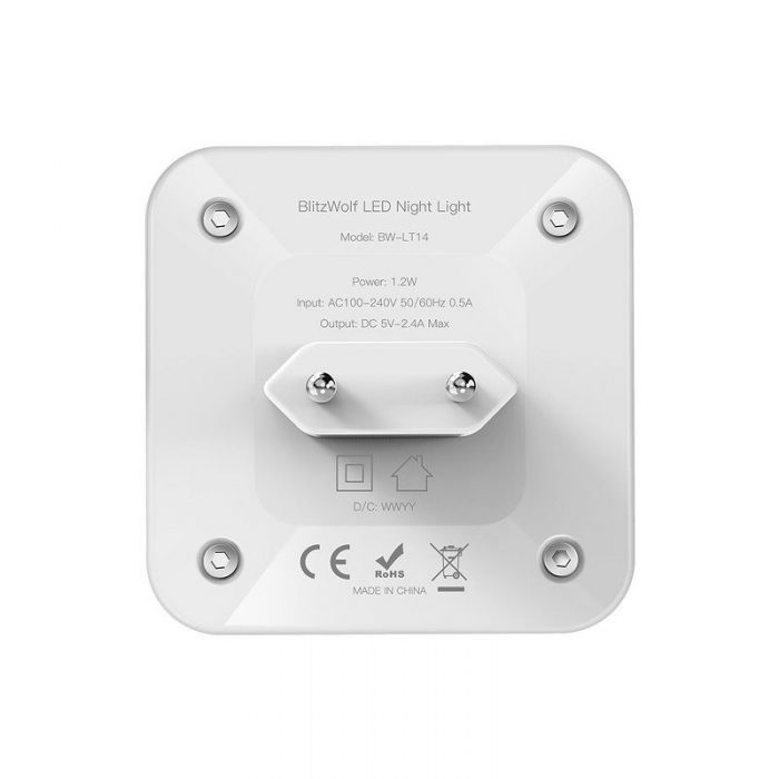 blitzwolf bw-lt14 plug-in dual usb sensor night light 2x usb - blitzwolf 5907489602051 3 1