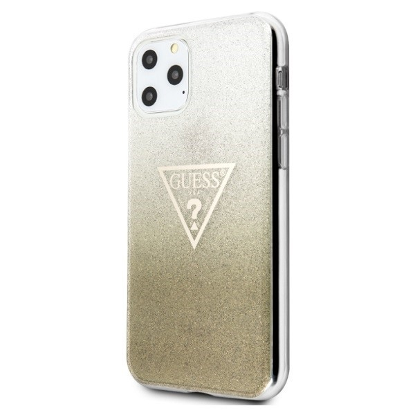 kryt guess guhcn65sgtlgo iphone 11 pro max gold hard case glitter triangle - guess 3700740461440 1