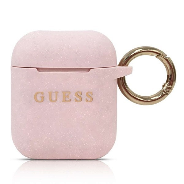 guess guaccsilgllp airpods cover pink silicone - guess 3700740463802
