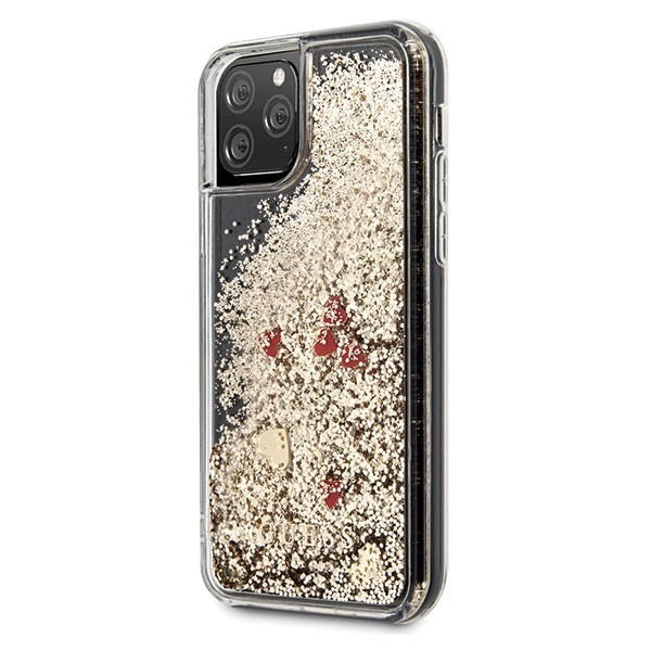guess guhcn58glhrego iphone 11 pro gold hard case liquid glitter hearts - guess 3700740472224 1