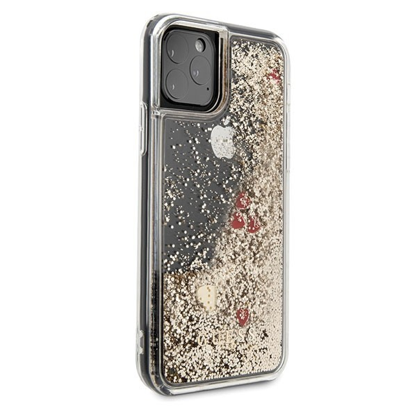 guess guhcn58glhrego iphone 11 pro gold hard case liquid glitter hearts - guess 3700740472224 4