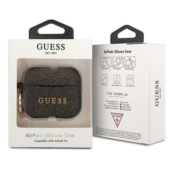 guess guacapsilglbk airpods pro cover black silicone - guess 3700740472422 1