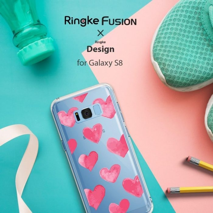 ringke fusion design samsung galaxy s8 plus watercolor hearts - ringke 8809550340336 4 1