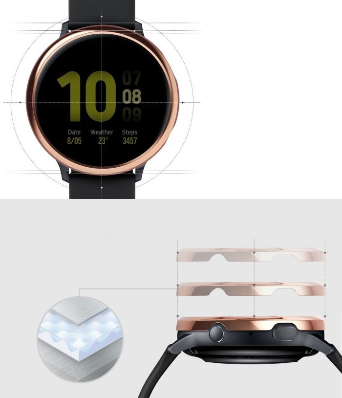 ringke bezel styling samsung galaxy watch active 2 44mm stainless glossy rose gold gwa2-44-02 - ringke 8809688893551 3