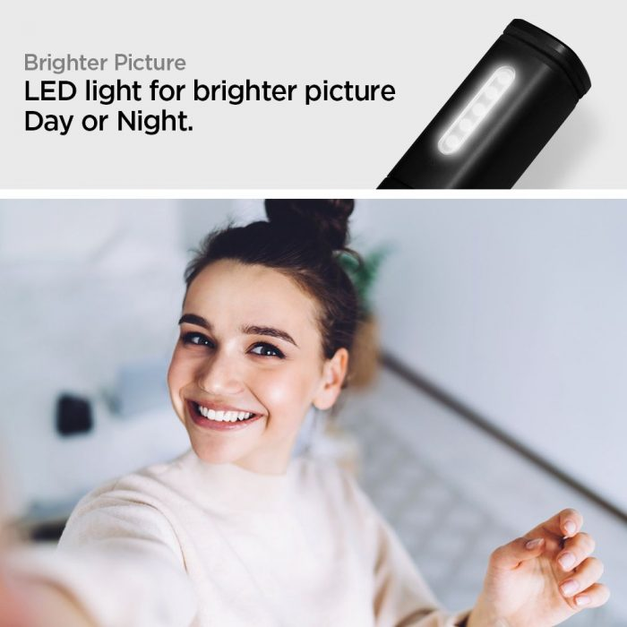 spigen s550w led selfie stick midnight black - spigen 8809640257711 7 1