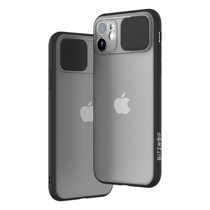 blitzwolf bw-ay2 protective case with slide lens cover for iphone 11 pro max black - export 922