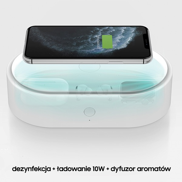 uniq lyfro all-in-one uvc sanitizer with fast wireless charging 10w white - export 2093