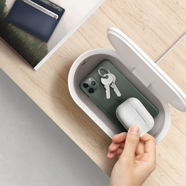 uniq lyfro all-in-one uvc sanitizer with fast wireless charging 10w white - export 2095