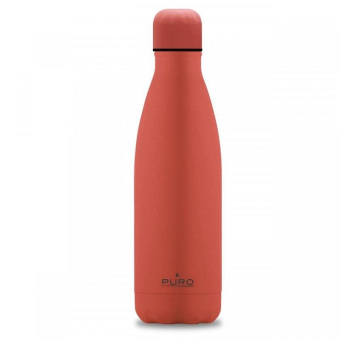 puro icon thermal stainless steel water bottle 500ml (living coral) (silicon coating) - export 2129