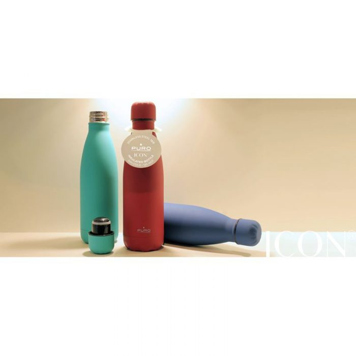 puro icon thermal stainless steel water bottle 500ml (living coral) (silicon coating) - export 2130