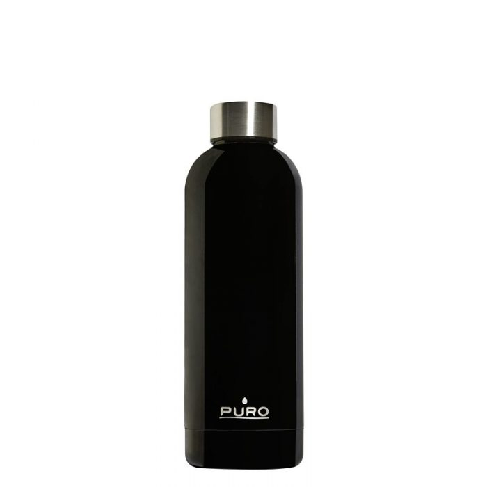 puro hot&cold thermal stainless steel water bottle 500ml (shiny black) - export 2132