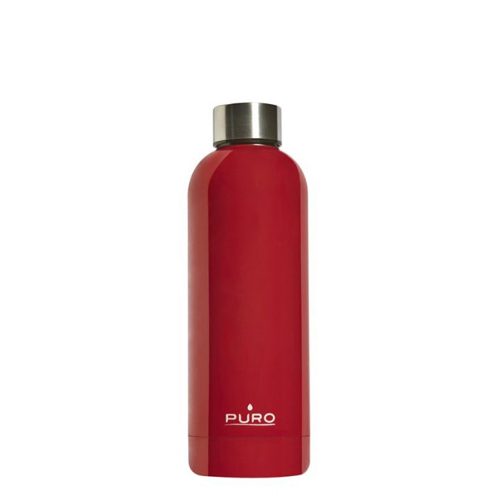 puro hot&cold thermal stainless steel water bottle 500ml (red) - export 2142