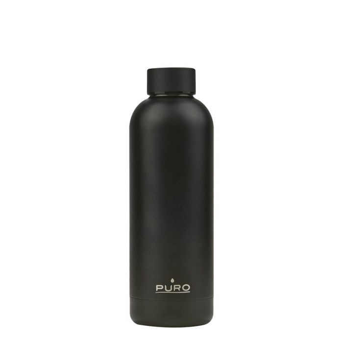 puro hot&cold thermal stainless steel water bottle 500ml (metallic black) - export 2146