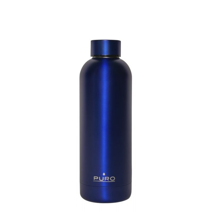 puro hot&cold thermal stainless steel water bottle 500ml (metallic deep blue) - export 2149