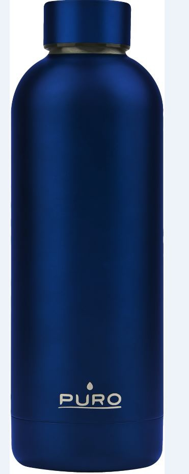 puro hot&cold thermal stainless steel water bottle 500ml (metallic deep blue) - export 2150