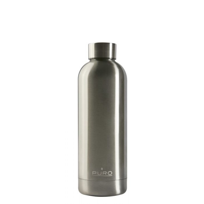 puro hot&cold thermal stainless steel water bottle 500ml (metallic silver) - export 2158