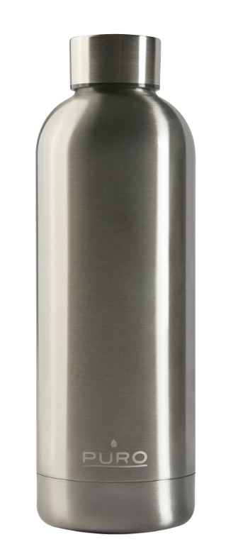 puro hot&cold thermal stainless steel water bottle 500ml (metallic silver) - export 2159