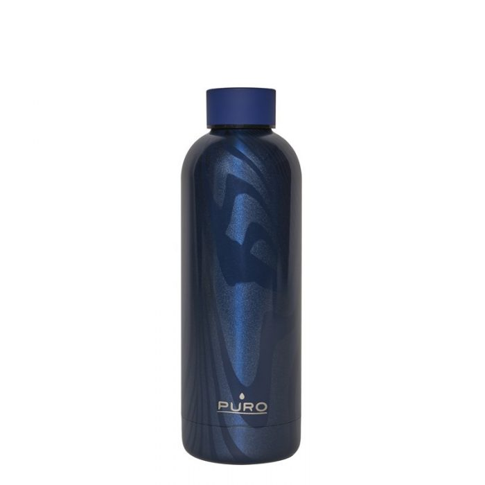 puro hot&cold thermal stainless steel water bottle 500ml (optic - stripe dark blue) - export 2162