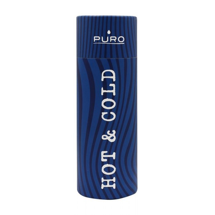 puro hot&cold thermal stainless steel water bottle 500ml (optic - stripe dark blue) - export 2163