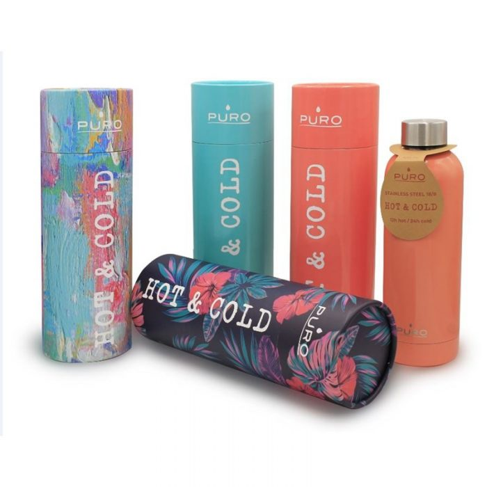 puro hot&cold thermal stainless steel water bottle 500ml (optic - stripe dark blue) - export 2164