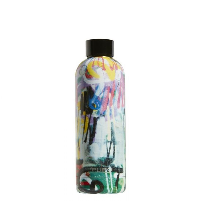 puro hot&cold thermal stainless steel water bottle 500ml (streetart - graffiti black) - export 2165