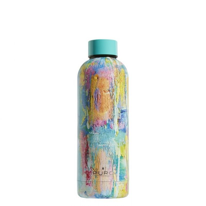 puro hot&cold thermal stainless steel water bottle 500ml (streetart - paint light blue) - export 2170