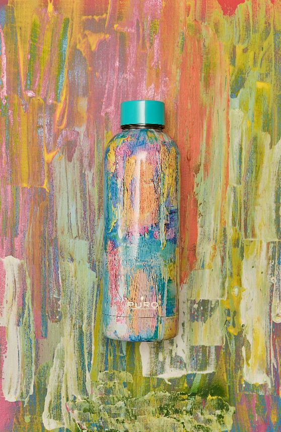 puro hot&cold thermal stainless steel water bottle 500ml (streetart - paint light blue) - export 2171