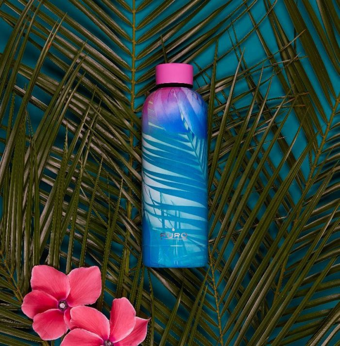 puro hot&cold thermal stainless steel water bottle 500ml (tropical - palms pink) - export 2176