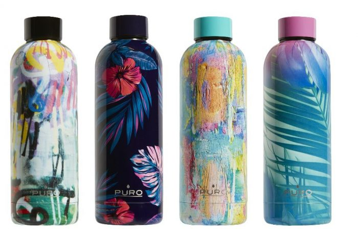 puro hot&cold thermal stainless steel water bottle 500ml (tropical - palms pink) - export 2178