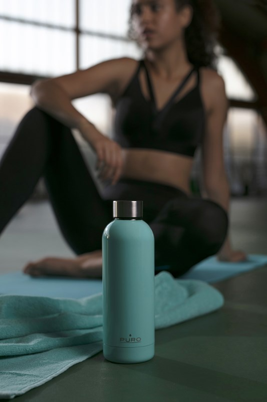 puro hot&cold thermal stainless steel water bottle 350ml (light blue) - export 2191