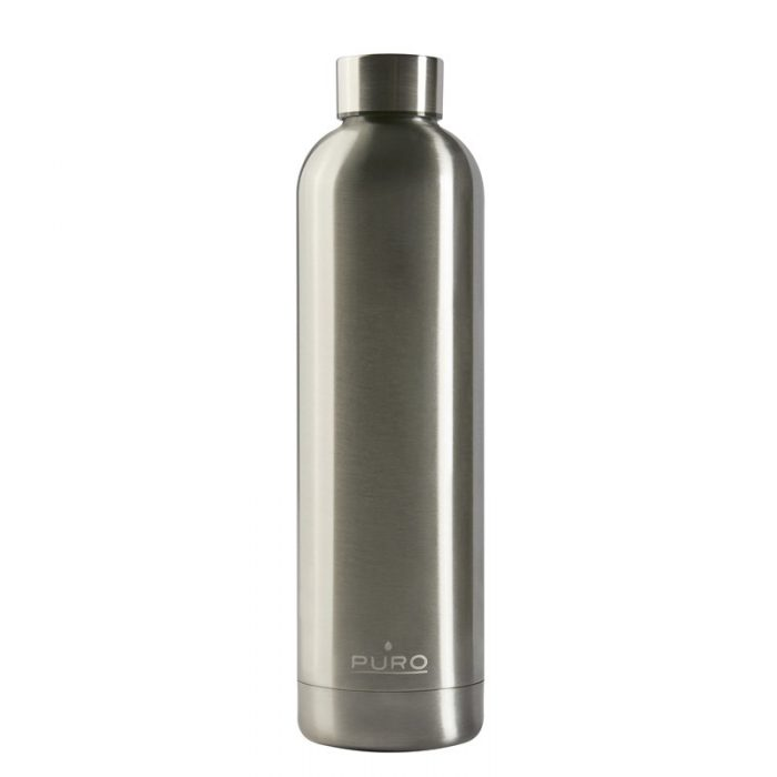 puro hot&cold thermal stainless steel water bottle 1000ml (metallic silver) - export 2200