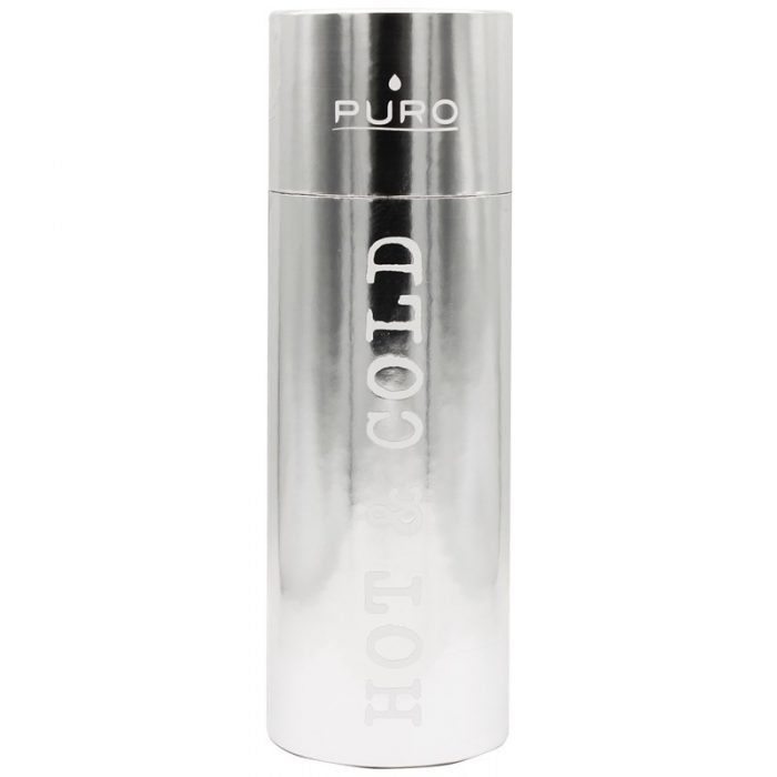 puro hot&cold thermal stainless steel water bottle 1000ml (metallic silver) - export 2201