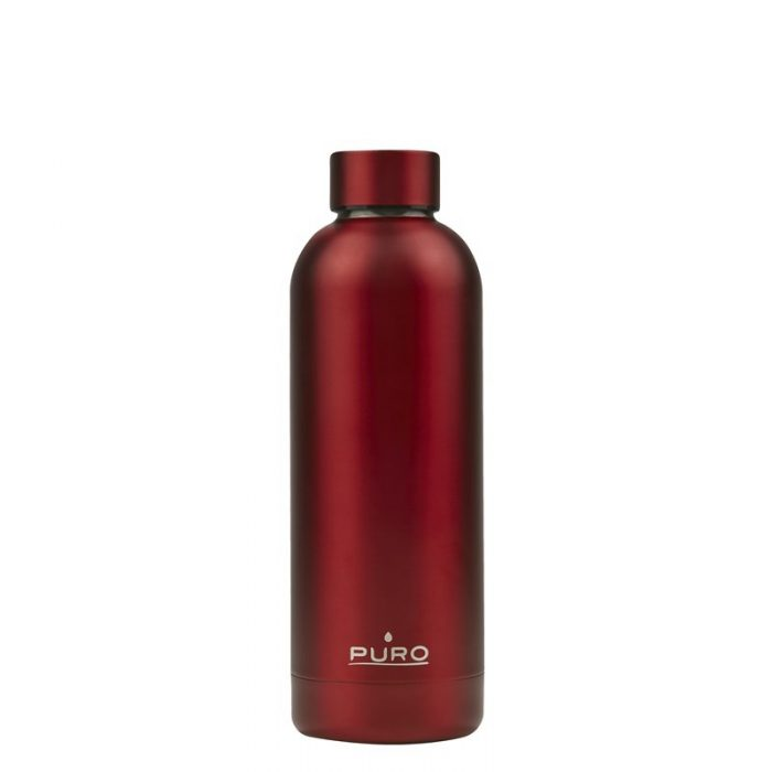 puro hot&cold thermal stainless steel water bottle 500ml (metallic red) - export 2208