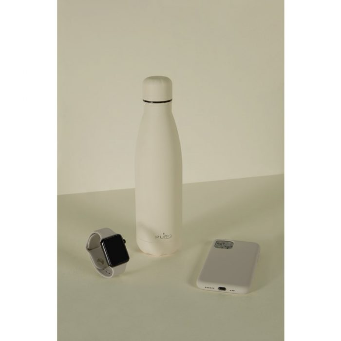 puro icon thermal stainless steel water bottle 500ml (beige) (powder coating) - export 2215