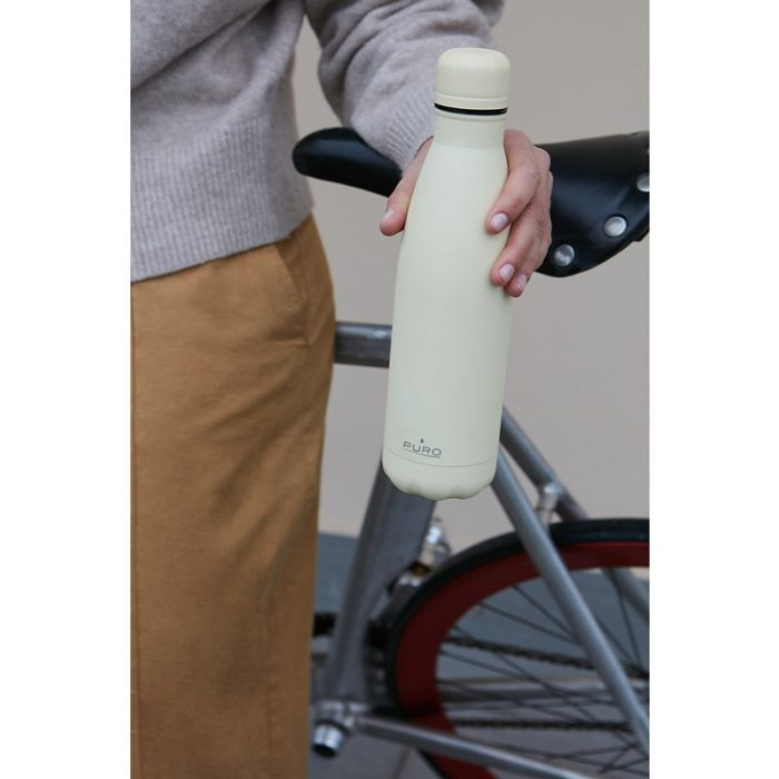 puro icon thermal stainless steel water bottle 500ml (beige) (powder coating) - export 2218