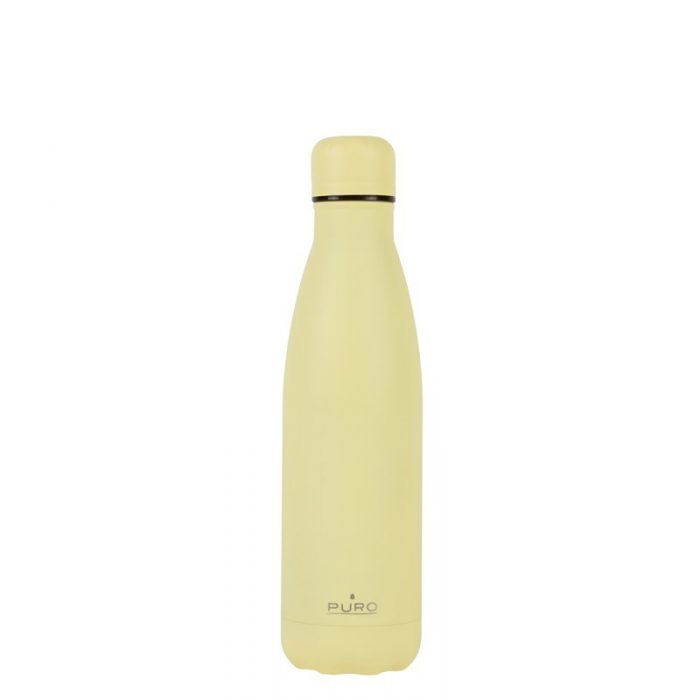 puro icon thermal stainless steel water bottle 500ml (light yellow) (powder coating) - export 2234