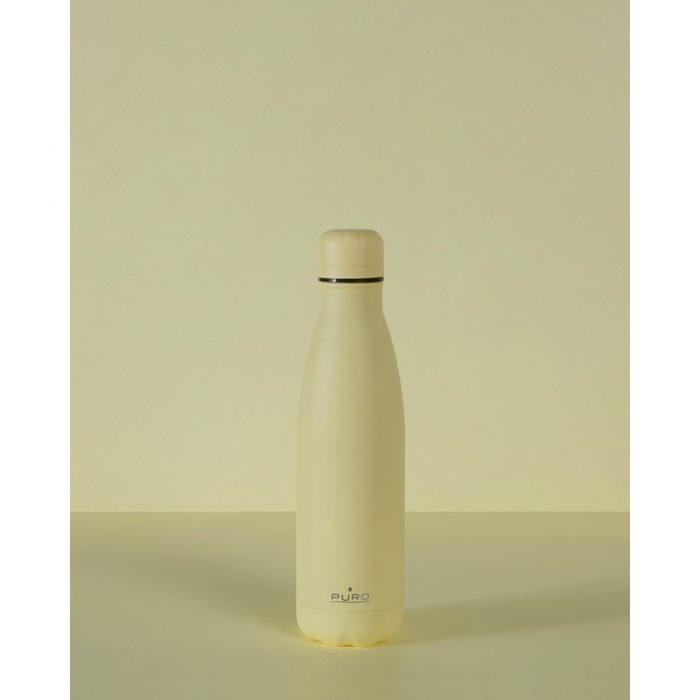 puro icon thermal stainless steel water bottle 500ml (light yellow) (powder coating) - export 2235