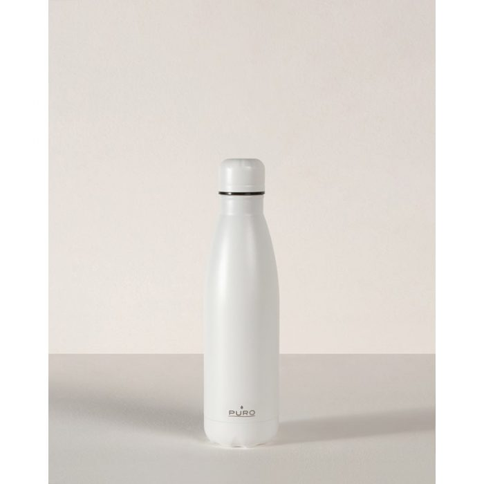 puro icon thermal stainless steel water bottle 500ml (white) (powder coating) - export 2240